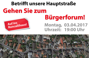 Bürger-Forum 03.04.2017: Projekt Umgestaltung Hauptstraße